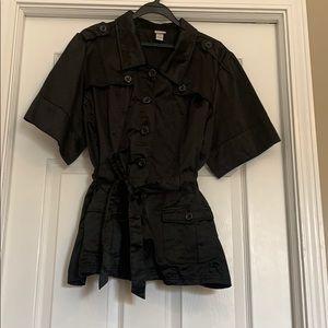 Satin black tie waist top